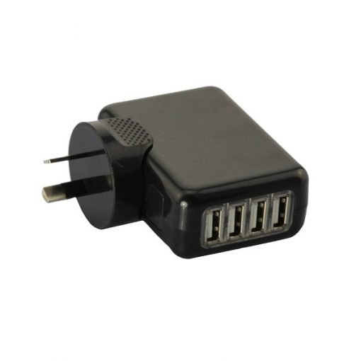 USB Compact 4 Port AC Power Adapter Wall Charger - Black