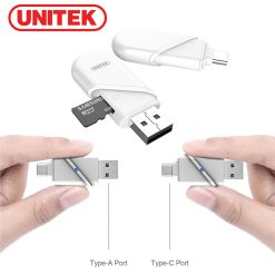 Unitek Y-9323 Type-C And  USB-A OTG Micro SD Card Reader - White
