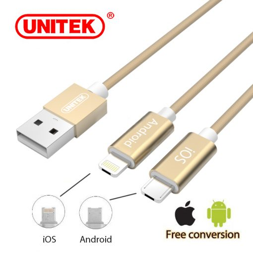 Unitek 2- n 1 Micro USB and Lightning Data Charging Cable - Gold