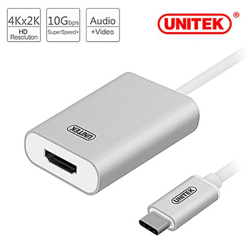 Unitek Type-C USB 3.1 to HDMI 4K Converter - Silver