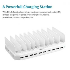 Unitek 96 Watt 10 Port Smart Charging Station With 2 QC 3.0 Port - White