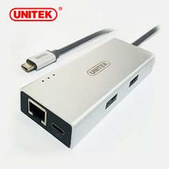 Unitek Type-C Multiport Hub With Power Delivery To 2 Port USB-A 3.0 And Gigabit Ethernet Converter - Silver