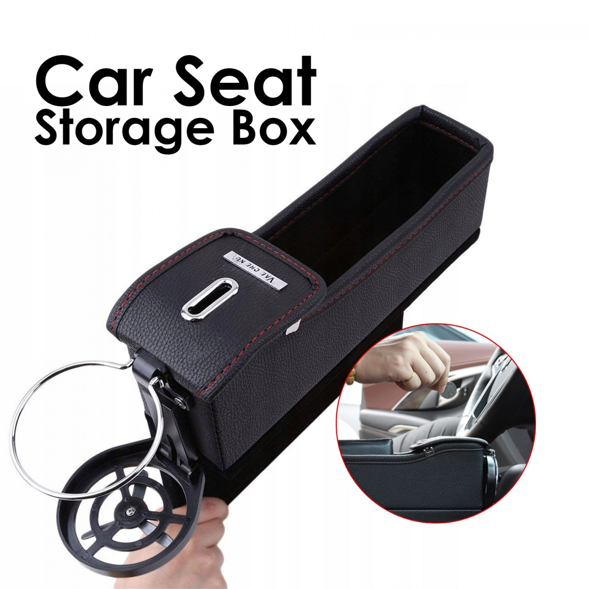Universal Car Seat Gap Storage Box Organizer - Black