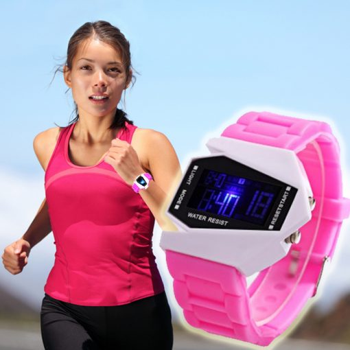 Sports Watch LED Stealth Aircraft with Silicone Strap - Pink