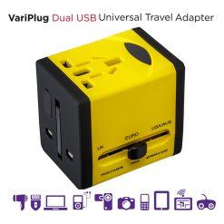 VariPlug Dual USB Universal Travel Plug Adapter/Charger - Yellow