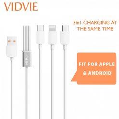 Vidvie 30cm CB414 3 in 1 Charging Cable - White