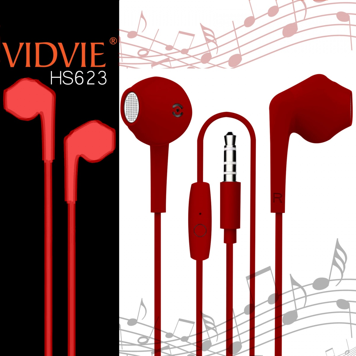 Vidvie HS623 Wired Headset - Red