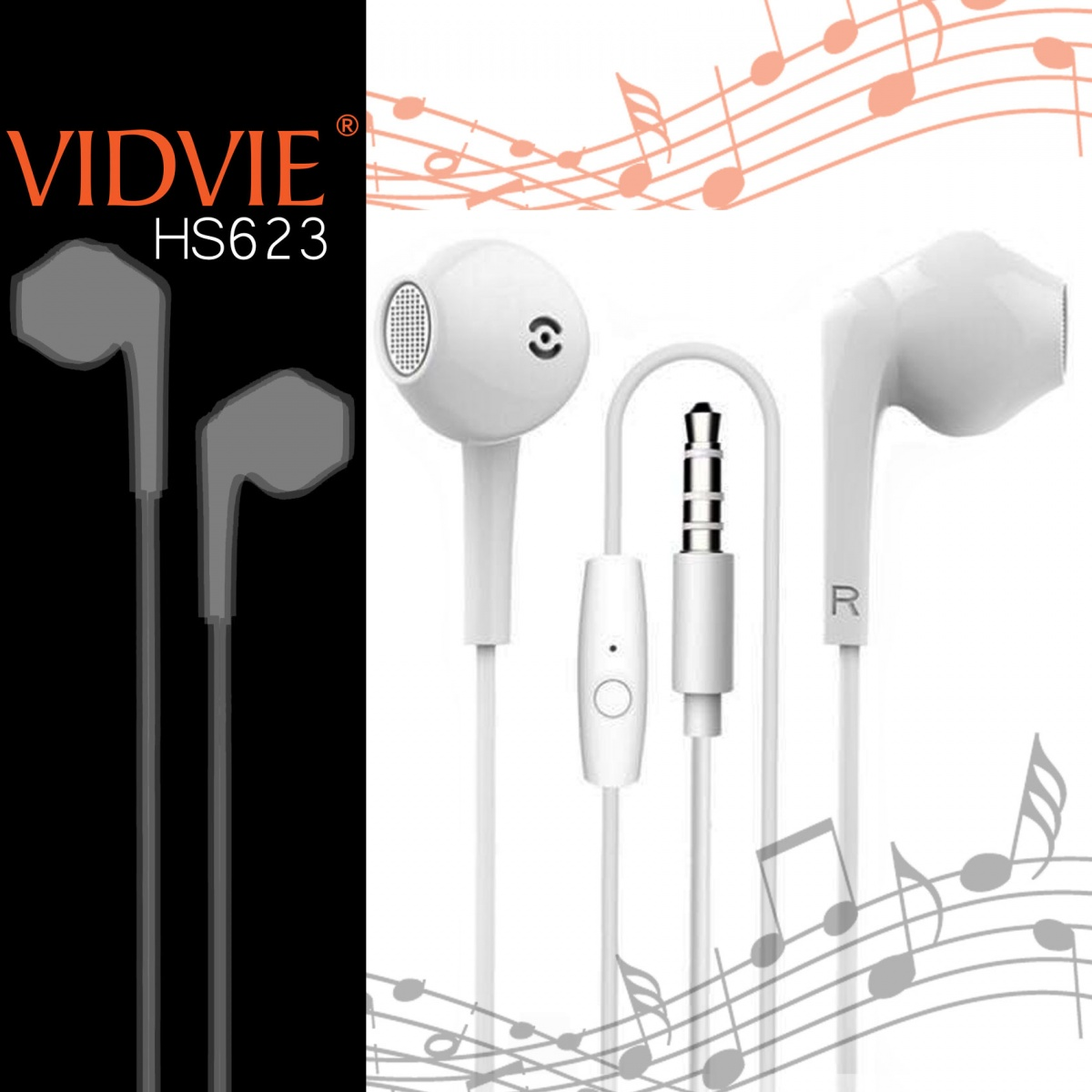 Vidvie HS623 Wired Headset - White