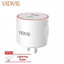 Vidvie 3.4A  Charger USB And Type-C Output Port With Lightning Cable - White