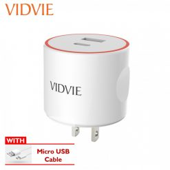 Vidvie 3.4A  Charger USB And Type-C Output Port With Micro USB Cable - White