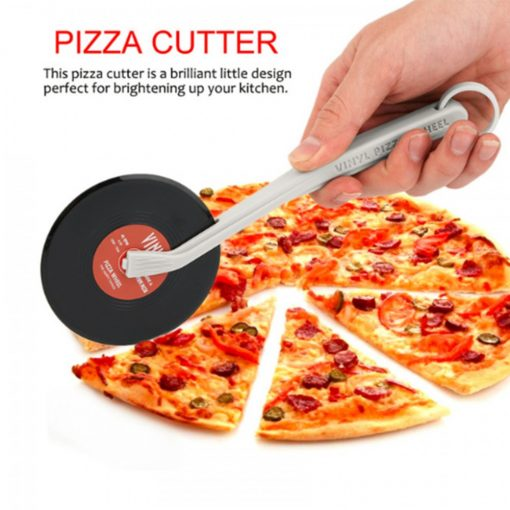 Vinyl Pizza Cutter Wheel With Silicone Handle Slice Record Player Pizza Cutter For Pizza Pies - Brown