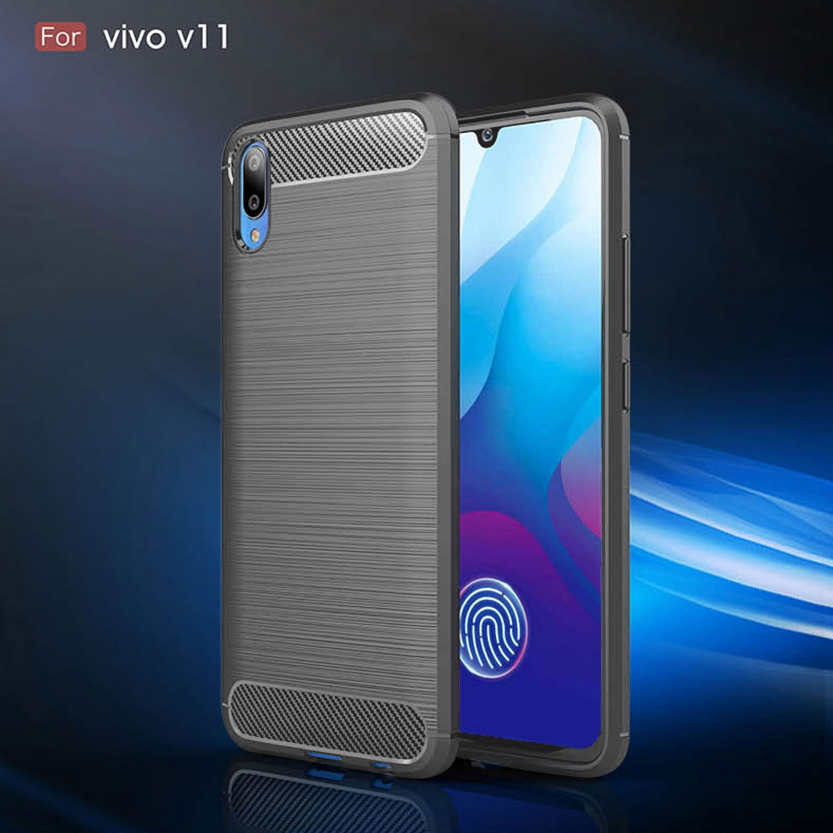 FOR SKU Vivo V11 Fashion Fiber Phone Case - Gray