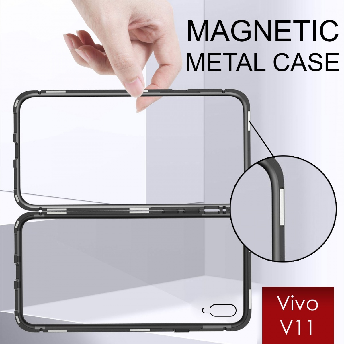 Vivo V11Magnetic Metal Flip Phone Case - Black