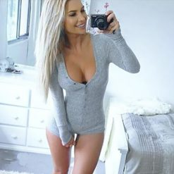 Sexy V Neck Press Stud Long Sleeve Gray - XL