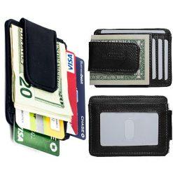Unisex Leather Card Holder With Magnet Money Clip Wallet - Black