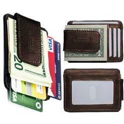 Unisex Leather Card Holder With Magnet Money Clip Wallet - Brown