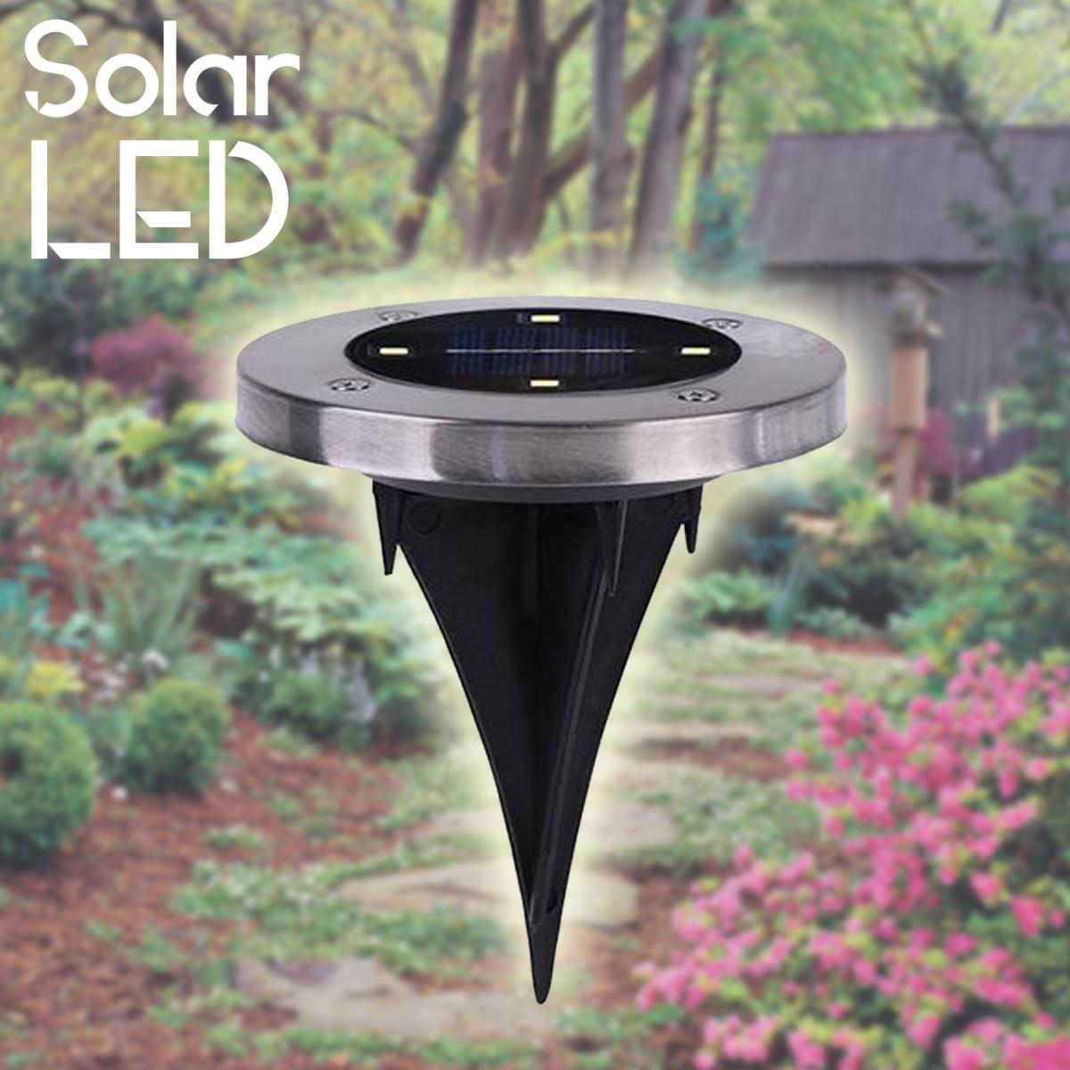 Waterproof 4 LED Light Outdoor Garden Path Solar Lamp - Silver