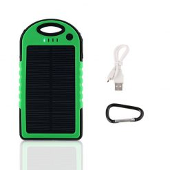 Waterproof Solar Charge 5000 MAH  Powerbank – Green