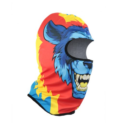 Wolf Cartoon Face Design Full Face Mask - Blue