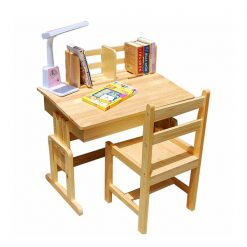Wooden Desk Study Table With Chair - Brown