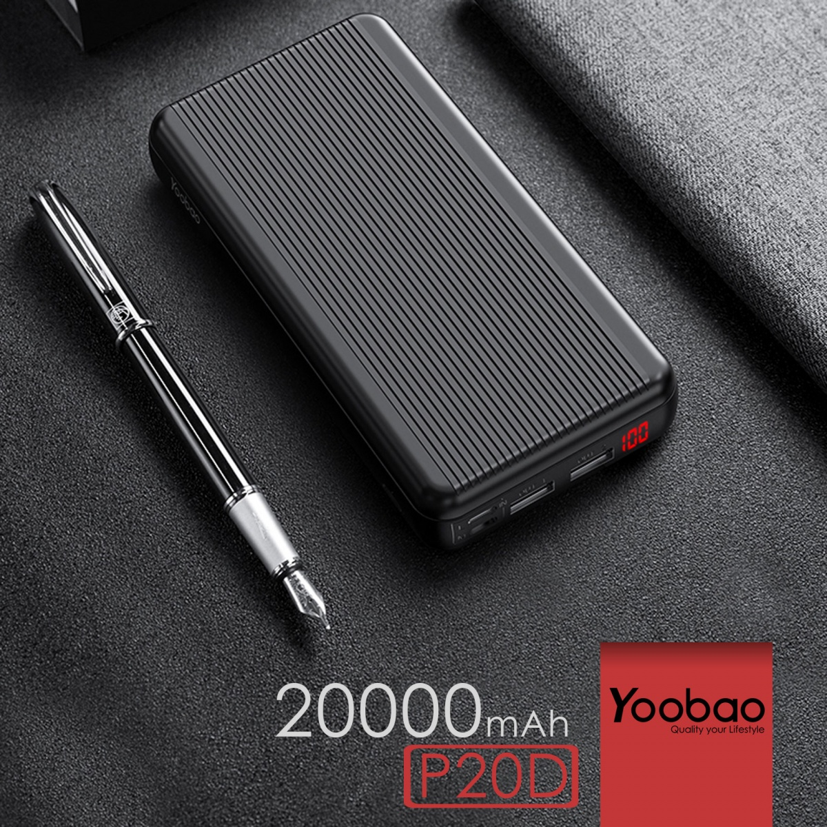 Yoobao P20D Power Desire 20000  3 Input 3 Output Polymer Powerbank - Black