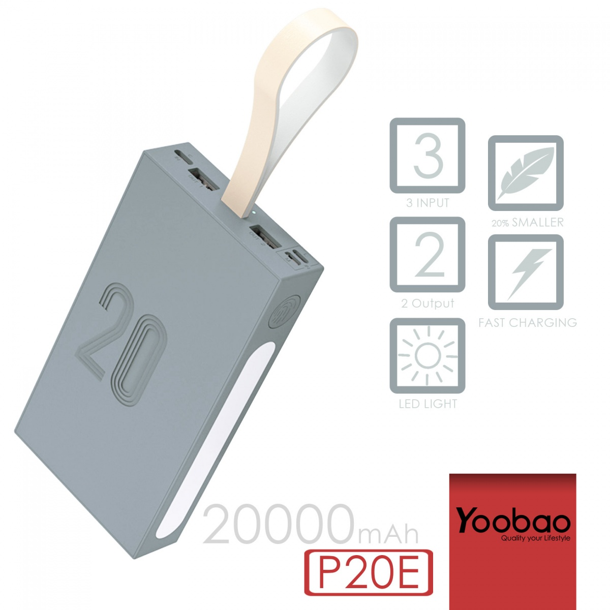 Yoobao P20E Power Explorer 20000 Portable Charger Three Input Two Output With LED Lamp  - Gray