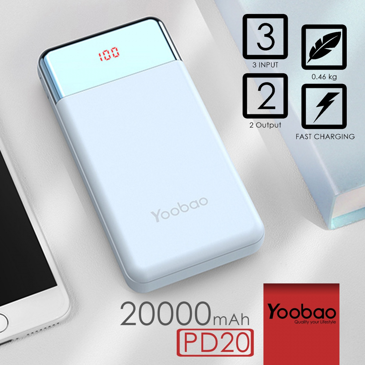 Yoobao PD20 Power Quick 20000 Compact 3input 2output  PD3.0 Polymer Powerbank - Blue