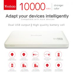 Yoobao Q10000mah Power Bank 9v/2a - White