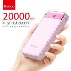 Yoobao M20  Pro 20000 mah  Powerbank With LCD Screen 2 Output USB Port And Micro USB/Lightning Icharging Port - Pink