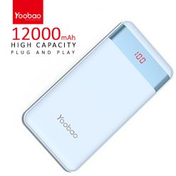 Yoobao PL12 Pro 12000 mah  Powerbank With LCD Screen 2 Output USB Port And Micro USB/Lightning Icharging Port - Blue