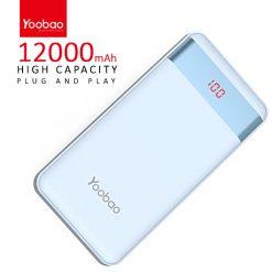 Yoobao PL12 Pro 12000 mah  Powerbank With LCD Screen 2 Output USB Port And Micro USB/Lightning Icharging Port - Blue