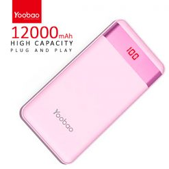 Yoobao PL12 Pro 12000 mah  Powerbank With LCD Screen 2 Output USB Port And Micro USB/Lightning Icharging Port - Pink