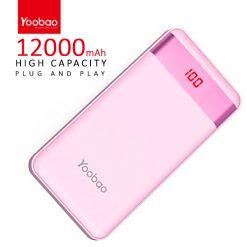Yoobao PL12 Pro 12000 mah  Powerbank With LCD Screen 2 Output USB Port And Micro USB/Lightning Icharging Port - Pink