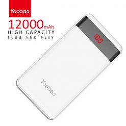 Yoobao PL12 Pro 12000 mah  Powerbank With LCD Screen 2 Output USB Port And Micro USB/Lightning Icharging Port - White