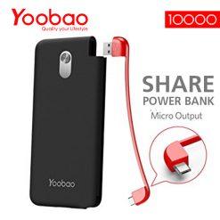 Yoobao S10K Built-in Detachable Micro USB 10000mah Slim Power Bank - Black