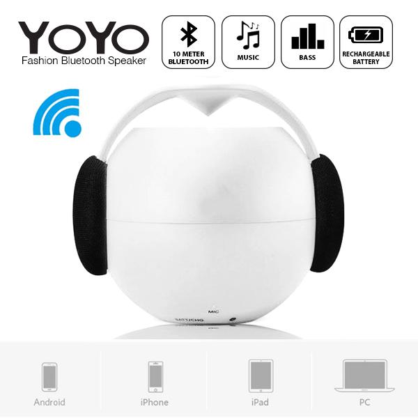 Yoyo Fashion Bluetooth Speaker NFC Support with Surround Sound - White