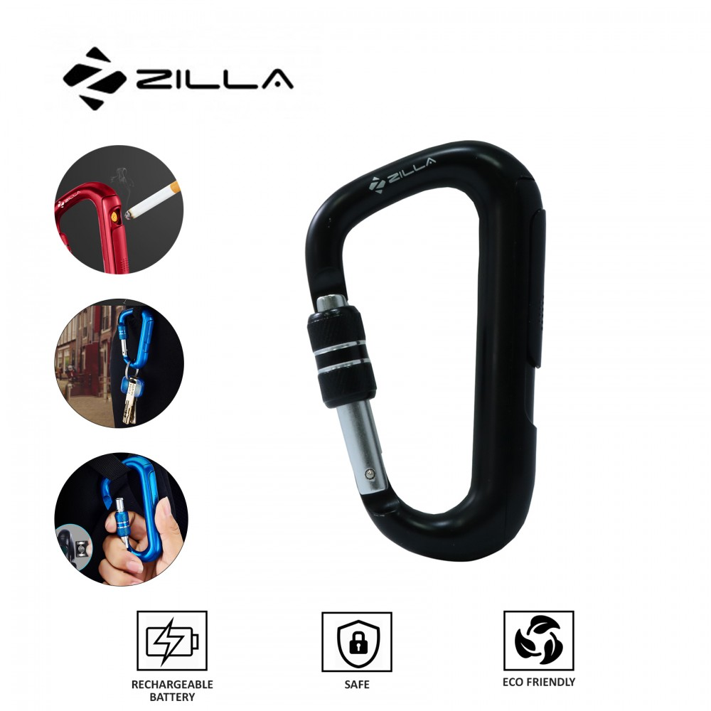 Zilla Carabiner Rechargeable Lighter - Black