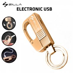 Zilla Electronic Charging USB Lighter Keychain with Carabiner - Gold