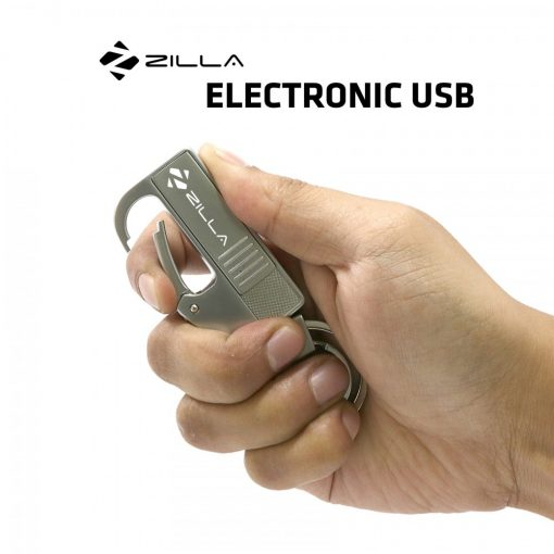 Zilla Electronic Charging USB Lighter Keychain with Carabiner - Silver