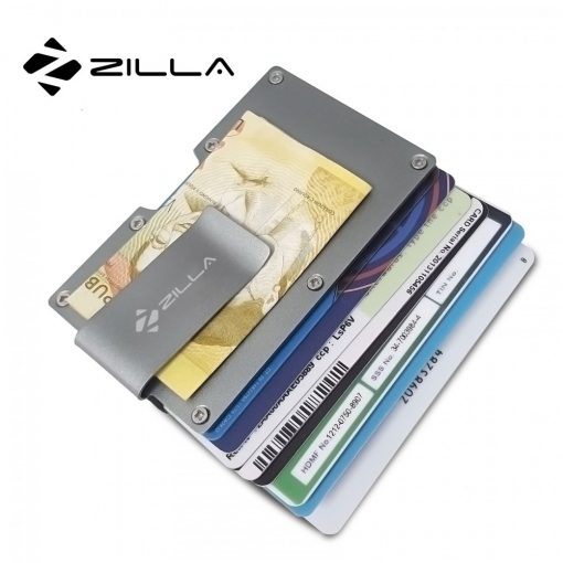 Zilla Metal Card Holder With Money Clip - Gray