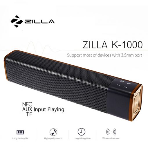 Zilla 1000 20 Watt High Bass Multifunction Bluetooth Speaker - Gold