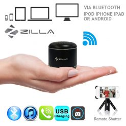Zilla Metal Nano Bluetooth Speaker With Camera Shutter Stripe - Black