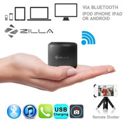 Zilla Metal Nano Bluetooth Speaker With Camera Shutter - Black