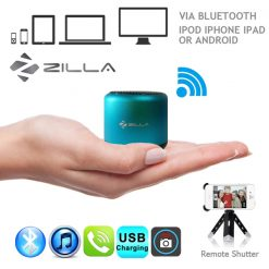 Zilla Metal Nano Bluetooth Speaker With Camera Shutter  - Blue