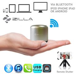 Zilla Metal Nano Bluetooth Speaker With Camera Shutter - Silver