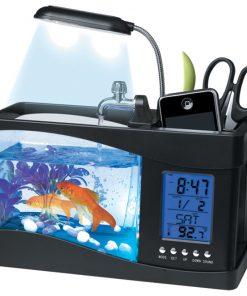 USB Desktop Aquarium With Pencil Holder & Electronic Clock And Calendar - Black