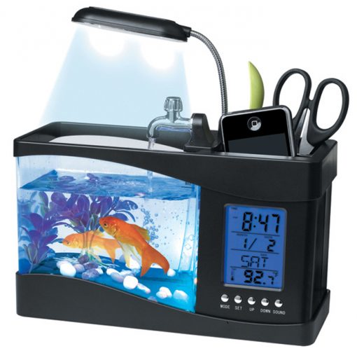 USB Desktop Aquarium With Pencil Holder & Electronic Clock And Calendar - Black