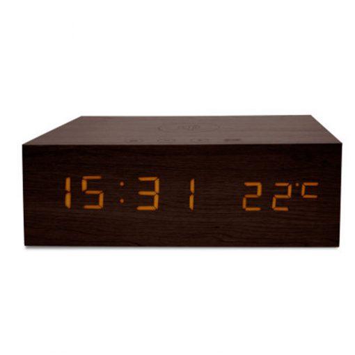 Wood Finish Alarm Clock With NFC Bluetooth Speaker And FM Radio - Black
