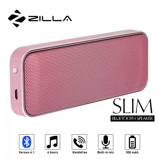 Zilla BT-202 Card Shaped Leather Finish Bluetooth Speaker 10W Super Bass - Rose Gold