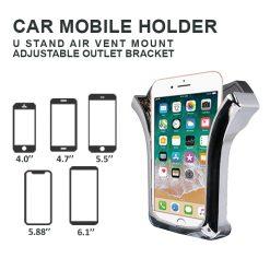 U Shape Air Vent Car Mobile Holder – Black/Silver